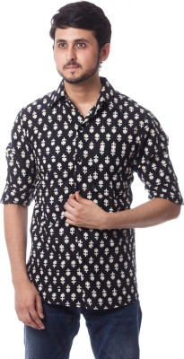 ERBE Men,s, Boy,s Printed, Floral Print Casual, Party, Festive Black Shirt