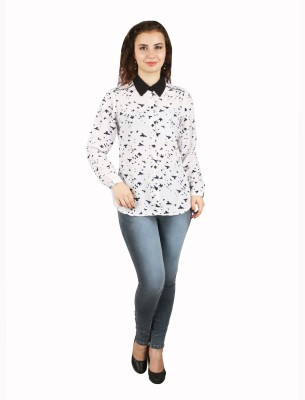 FASHIONHOLIC Women's Printed Casual White Shirt
