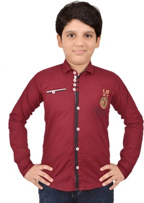 Little Dabang Boy's Solid Casual Maroon Shirt