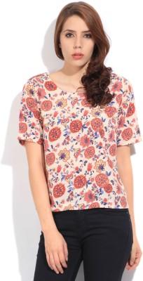 Lee Women's Printed Formal Beige, Red Shirt at flipkart