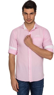 Indocity Men's Solid Casual Pink Shirt