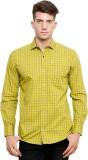 Ebry Men's Checkered Casual Yellow Shirt