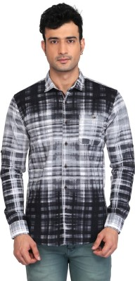 Glabrous Men,s Checkered Casual White, Black Shirt