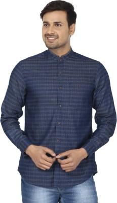 Wills Lifestyle Men's Self Design Casual Dark Blue Shirt