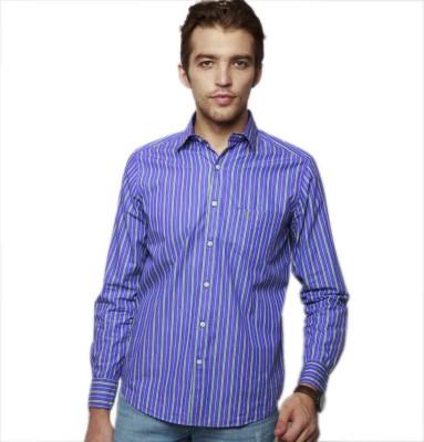 American Swan Men's Striped Casual Purple Shirt