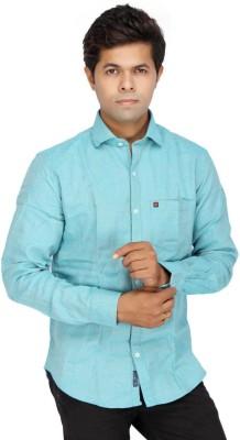 JG FORCEMAN Men's Solid Casual Light Blue Shirt