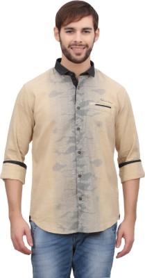Volume Zero Men's Printed Casual Yellow Shirt