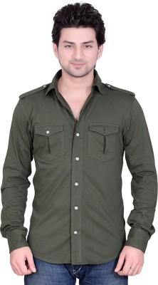 LUCfashion Men's Solid Casual Dark Green Shirt