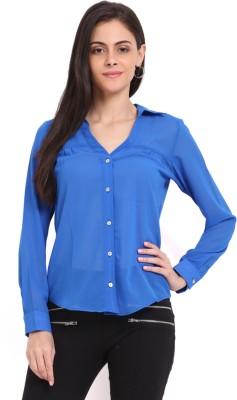 Sweet Lemon Women's Solid Casual Light Blue Shirt