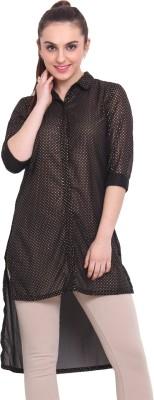 Rena Love Women's Printed Casual Black Shirt