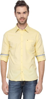 T-Base Men's Solid Casual Yellow Shirt