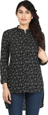 AKFASHION Women's Paisley Casual Black, White Shirt