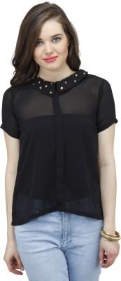 Osumfab Women's Solid Casual Black Shirt
