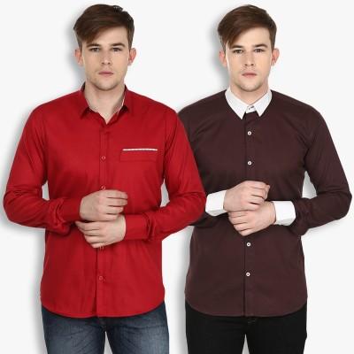 Stylox Men,s Solid Casual Maroon, Brown Shirt