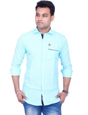 La Milano Men's Solid Casual Light Blue Shirt