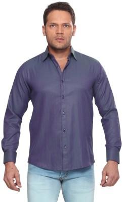 Club Fox Men,s Solid Casual Dark Blue Shirt