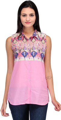 Motif Women's Printed, Solid Casual Pink Shirt