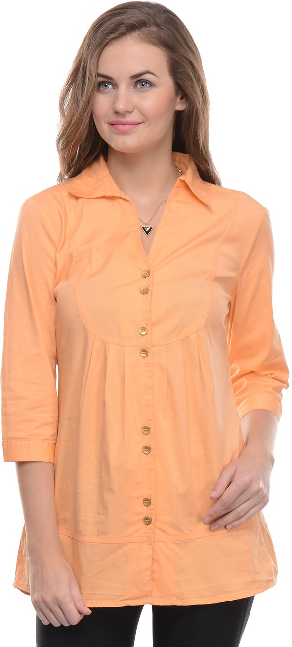 Moderno Women's Solid Formal Orange Shirt