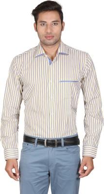 Don Vino Men's Striped Casual Yellow, Blue, White Shirt