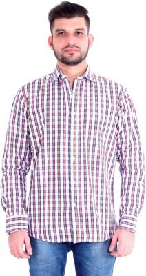 RJ MODA Men's Checkered Casual Orange, Maroon, White Shirt