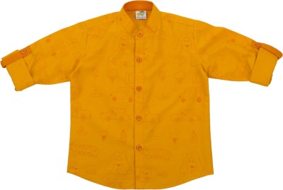 Little Stars Boy's Printed Formal Yellow Shirt