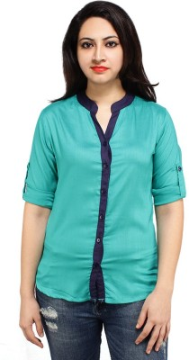 Styles Clothing Women's Solid Casual Light Blue Shirt