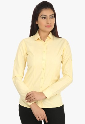 Fashion Cult Women's Solid Casual Yellow Shirt
