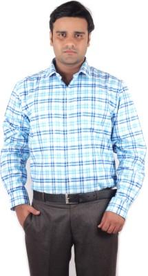 RIPARV Men's Checkered Formal Blue Shirt