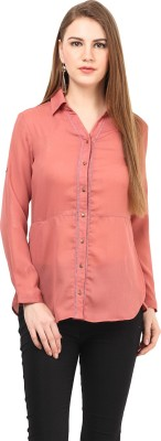 At By Taruna Women's Solid Casual Orange Shirt