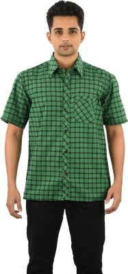 Five On Five Men's Striped Casual Green Shirt