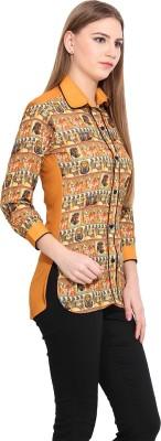 Desi Urban Women's Printed Casual Yellow Shirt