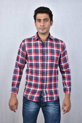 Hometrade India Men's Checkered Casual Red Shirt