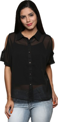 The Cleavage Women's Solid Casual Black Shirt