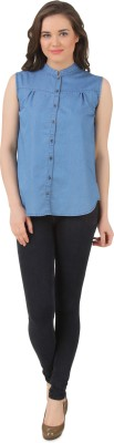 Petipack Women's Solid Casual Denim Blue Shirt