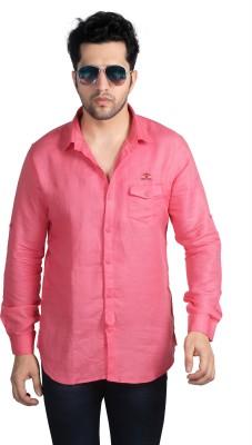 Nostrum Jeans Men's Solid Casual Pink Shirt