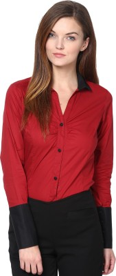 Dazzio Womens Solid Formal Maroon, Black Shirt