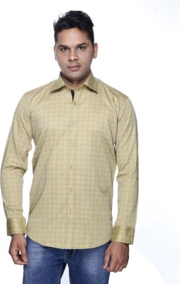 ALBI NYC Men's Printed Formal Beige Shirt
