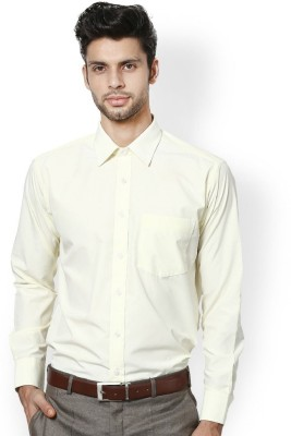 Royal Kurta Men's Solid Formal Beige Shirt