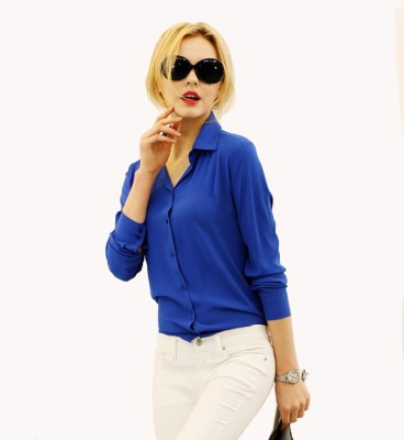 Archini Women's Solid Casual Blue Shirt