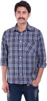 Sml Originals Formal Shirts (Men's) - SML Originals Men's Checkered Formal Dark Blue Shirt