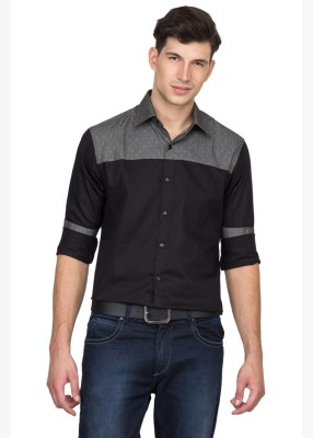 Bolt Men's Solid Casual Black, Grey Shirt