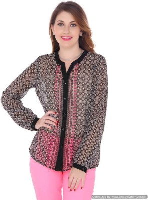 Bedazzle Women's Printed Casual Black Shirt