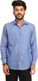 Snoby Men's Solid Casual Blue Shirt