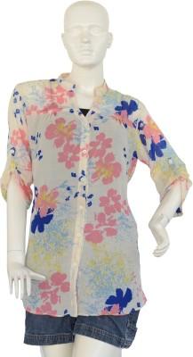 Jupi Women's Floral Print Casual White, Pink, Blue, Yellow Shirt
