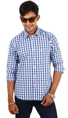 Barrier Reef Men's Checkered Casual Blue, White Shirt
