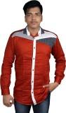 Zedx Men's Solid Formal Maroon Shirt