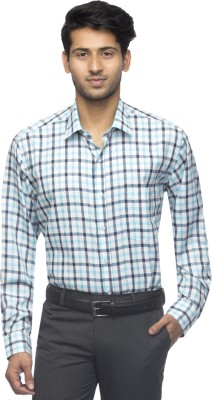 Menmark Men,s Checkered Formal White, Black, Green Shirt