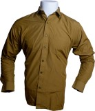 Qube Men's Solid Formal Brown Shirt