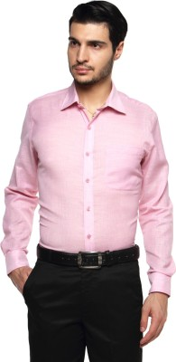 British Club Men's Solid Formal Pink Shirt
