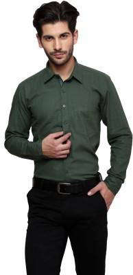 Thousand Shades Men's Solid Formal Dark Green Shirt